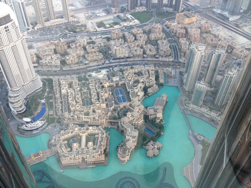 Looking down at a manmade lake from 1480 feet in the air