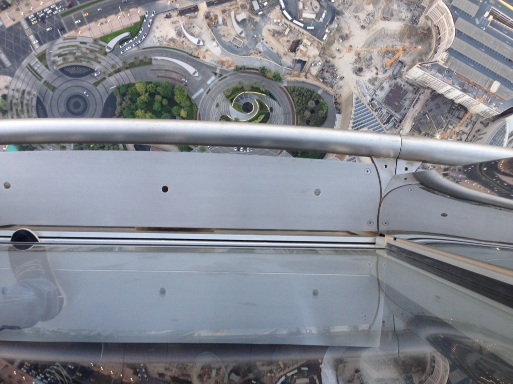 Straight down, camera over the railing